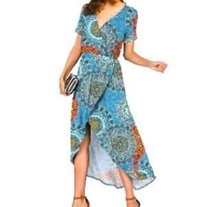 Prinstory High Low Wrap Maxi Dress S